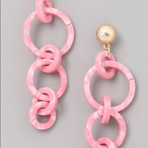 Acrylic Loop Drop Earrings in Pink